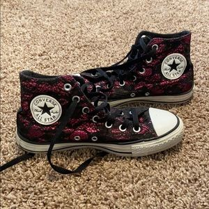 Women's Metallic Pink and black lace converse